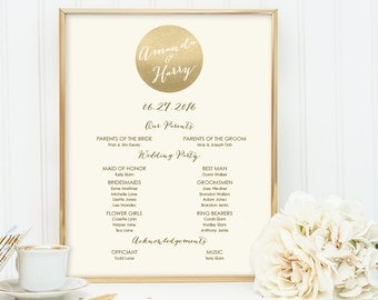 Gold Wedding Welcome Sign DIY / Wedding Party Sign, Bridal Party, Program / Metallic Gold and Cream ▷ Printable File {or} Printed & Shipped