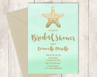 Beach Bridal Shower Invitation  / Metallic GOLDEN MINT Green Watercolor / Gold Starfish and Beach  ▷ Printed Heavy Paper {or} Printable