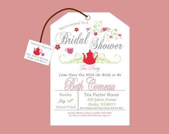Printable Tea Party Bridal Shower Invitation Style #2