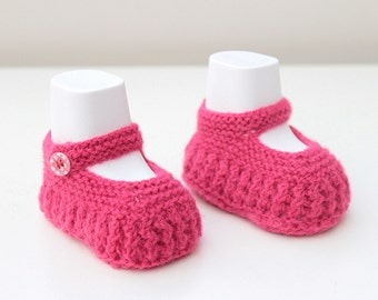 Pink Mary Janes, Baby Gift, Baby Girl Booties Baby Shoes Pink Crib Shoes Baptism Summer Knitted Booties Baby Shower Baby Girl Gift Hand Made