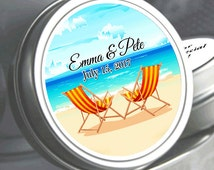 "12 Hammock Beach Chairs Wedding Mint Tin Favors  - Select the quantity you need below in the ""Pricing & Quantity"" option tab"
