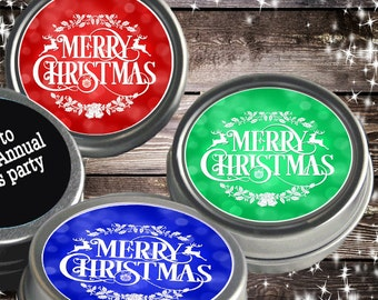 12 Personalized Christmas Mint Tins Favors - Happy New Year  - Christmas Favors - Winter Favors - Christmas Decor - Stocking Stuffers
