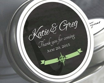 """12 Nautical Themed Chalkboard Mint Tin Favors  - Select the quantity you need below in the """"Pricing & Quantity"""" option tab"""
