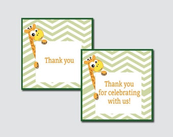 Born To Be Wild Giraffe Baby Shower Printable Favor Tag - Jungle Baby Shower Favor Tags - Thank You Tag, Jungle Favor Tags