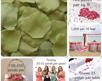 500 Sage Green Rose Petals - Artificial Rose Petals for Weddings