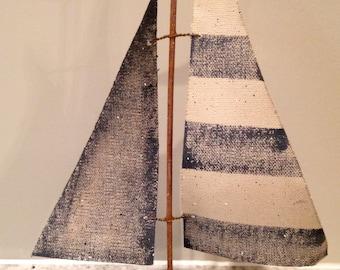 Vintage look distressed sail boat