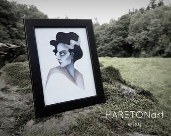 Bride of Frankenstein Inspired Print