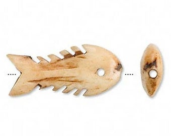 Two Carved Fish Bone Beads