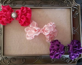 U pick colors, 3 Set Satin Kanzashi hair bows, Mix and Match Bow Set, 3 Bow Set, Satin Bows, Hair Bows, Girl Bows, Adult Bows, NON slip clip