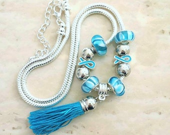 Blue Ribbon Tassel Charm Lampwork Beads Silver Plated Necklace 19-21 Inches
