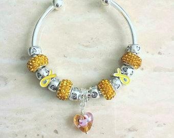 Yellow Ribbon Glass Lampwork Heart Czech Rhinestone Charm Silver Plated Bracelet Bangle 7.5 Inches