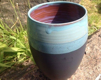 Ceramic Vase / Handmade Pottery / Black & Blue