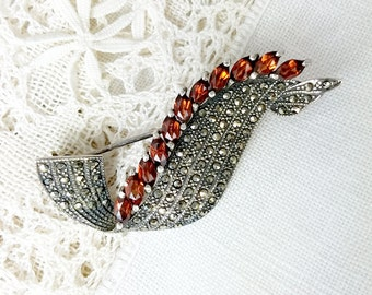 Vintage Sterling, Fiery Garnet and Marcasite Ribbon Brooch