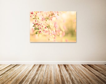 """Floral Canvas Art, Nursery Canvas Art, Pink Flowers, Yellow Wall Decor, Large Nature Canvas Wall Art - """"Bright"""""""