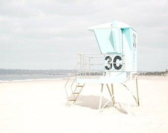 Beach Photography, Pastel Beach Decor, San Diego, California Beach Art, Lifeguard Tower, Aqua Wall Art, Coronado Beach, Aqua Beach Print