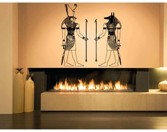 Wall Vinyl Sticker Decals Mural Room Design Pattern Art Bedroom Egypt Gods Ra Anibus Ancient Culture Lord bo2484
