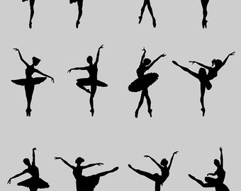 Ballet Dancer. - Silhouette Clipart. Digital illustration. Digital Images. Scrapbook. Instant Download.