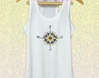 Compass shirt white tank/grey dress/ v neck shirts size XS S M L XL quote shirt /racer back tanks/ sleeveless tank