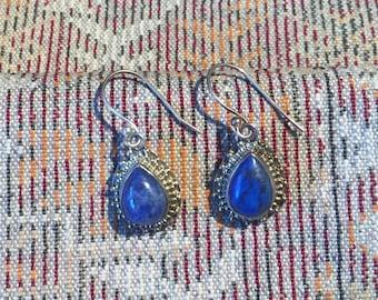 1 Lapis Earrings...Sterling Silver Earrings...Handmade Vintage Earrings...Ethnic...Hippie...Gypsy...Gift...Vintage Shop