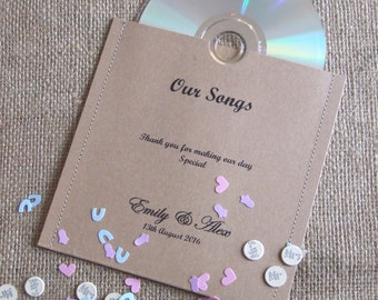 Recycled Brown Kraft Stitched CD / DVD Sleeve / Wallet - Personalised - Wedding Favour - Gift - Rustic - Vintage