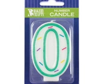 "0 Birthday Candle - 3"" White with Sprinkles #0 number zero"