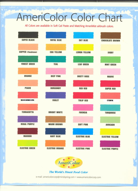 45 oz AmeriColor Soft Gel Paste FREE USA SHIPPING Food Color 31 – Food Coloring Chart