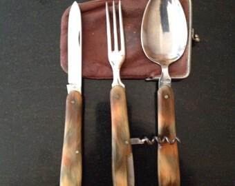 Vintage Travel / Picnic Cutlery. Knife, Fork & Spoon set