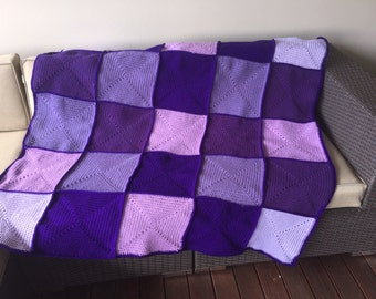 Handmade Crochet Blanket Throw Afghan, lounge gift, bedding gift, purple and lilac blanket, patchwork, housewarming gift, Etsy Australia