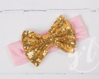 Pink and gold sequin headband, headband with sequin bow, gold sequin bow,  toddler headband, Sequin bow headband