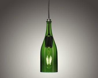 Dark Green Wine Bottle Pendant Light with LED Edison Bulb (Hard Wired)