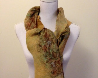Soft mossy green/fawn handmade felted wool and silk scarf with pretty floral silk