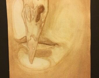 Birdland/ Coffee painting/ Watercolor