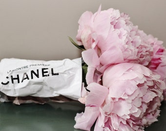 Peonies in Chanel advert wrap