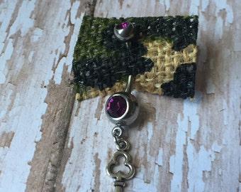 Dark Purple w/ Key charm, Belly Ring