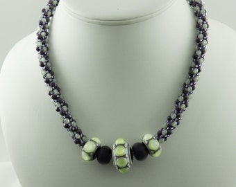 Pale Green and Amethyst Kumihimo Necklace Featuring Beads by Zdena Charvatova