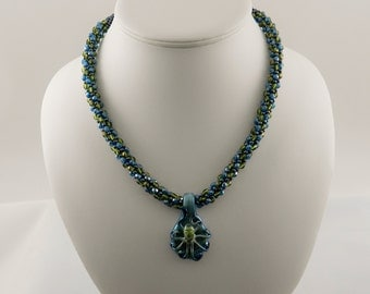 Blue and Green Octopus Kumihimo Necklace