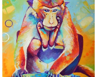 "The Monkey - Original colorful traditional acrylic painting on paper 11""x14"""