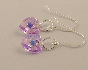 Swarovski Violet AB crystal heart drop earrings