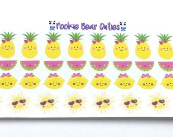 Kawaii Cute Fruits and Sun Stickers-040