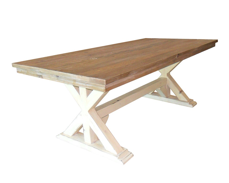 Dining Table Table Reclaimed Wood Trestle By VintageMillWerks