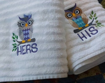 """Owl couple """"his & hers"""" towel set"""