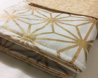 Nappy wallet/ diaper clutch in cotton modern metallic gold and white