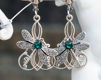 Dragonfly earrings, swarovski earrings, green earrings, vintage earrings, silver earrings