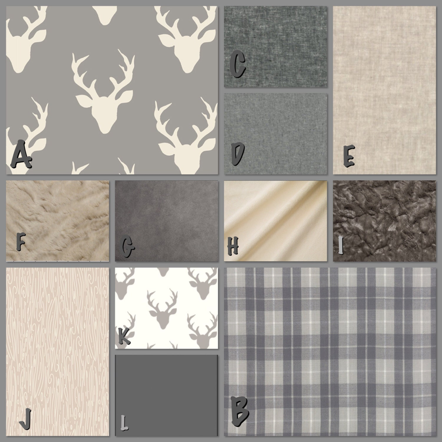 Rustic Baby Bedding Grey White Tuape Plaids And Stags