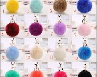 Faux Rabbit Fur Ball Plush Key Chain Pom Poms Keychain
