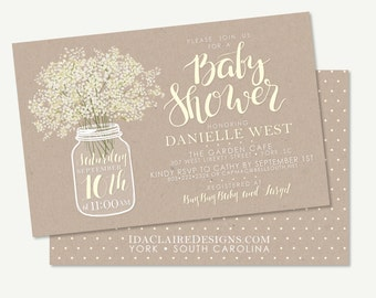 Baby Shower Invitation Digital Download - Babys Breath