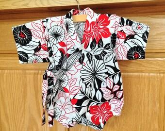 Red Black Baby Kimono, Baby Flower Kimono, Baby Flower Romper, Baby Kimono Bodysuit, Baby Jinbei, 0-3 Mo, 3-6 Mo, 6-12 Mo, 12-18 Mo