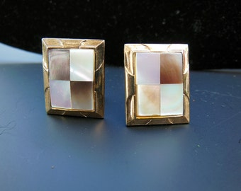 Cufflinks With Mother Of Pearl Inlays - Vintage