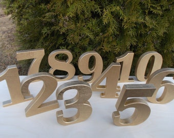 Set of 15 Golden Free standing numbers, Gold numbers, Photo props, Table numbers