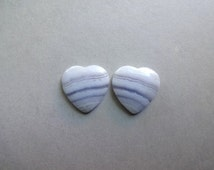 Pair Blue Lace Agate earrings heart cabochon 17x17 mm